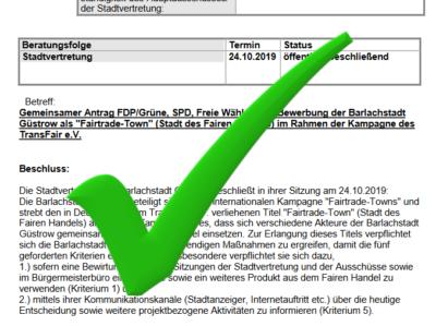"""Ausschnitt des Antrages """"Bewerbung der Barlachstadt Güstrow als 'Fairtrade-Town' (Stadt des Fairen Handels) im Rahmen der Kampagne des TransFair e.V."""" mit einem Häkchen"""